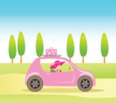 Cute vintage style girl driving a pink car — Stock Vector