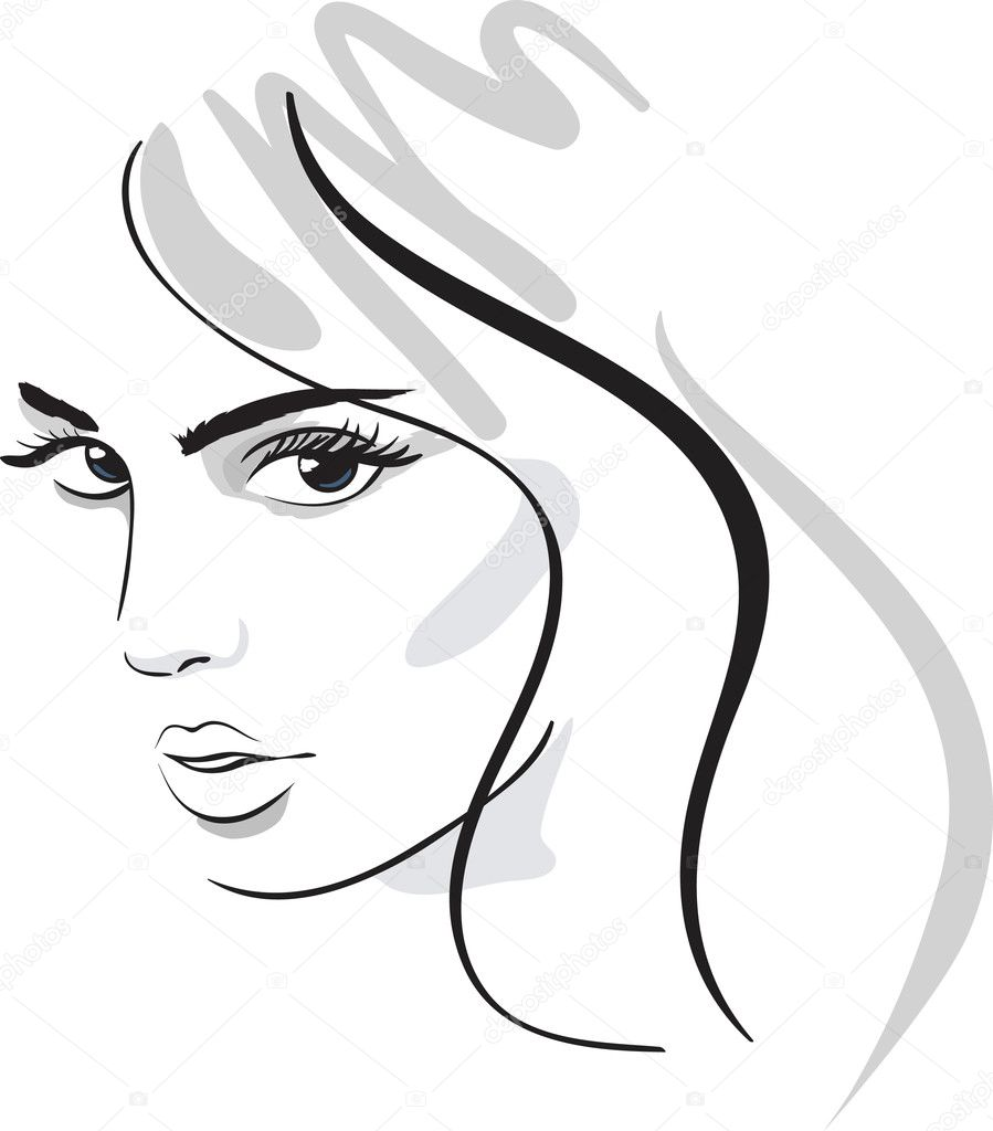 Beauty girl face. design elements. Vector Illustration — Stock Vector #5521634