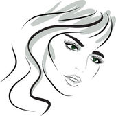 Beauty girl face. design elements. — Stock Vector