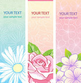Beautiful vertical floral banners set. — Stock Vector