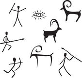 Primitive figures looks like cave painting — Stock Vector
