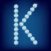 Vector Diamond alphabet. Letter K — Stock Vector
