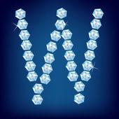 Vector Diamond alphabet. Lette W — Stock Vector