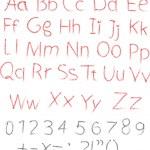 lápiz o carboncillo tiza alfabeto letra set — Vector de stock