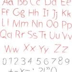 Pencil or charcoal chalk alphabet letter set — Stock Vector