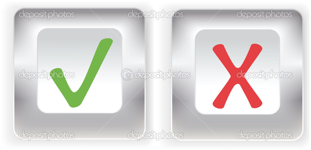 Check marks and silver buttons set . Vector elements — Stock Vector #5792889