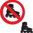 Prohibited Sign. Roller skate icon. — Stock Vector