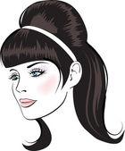 Beauty vector face woman portrait — Stock Vector
