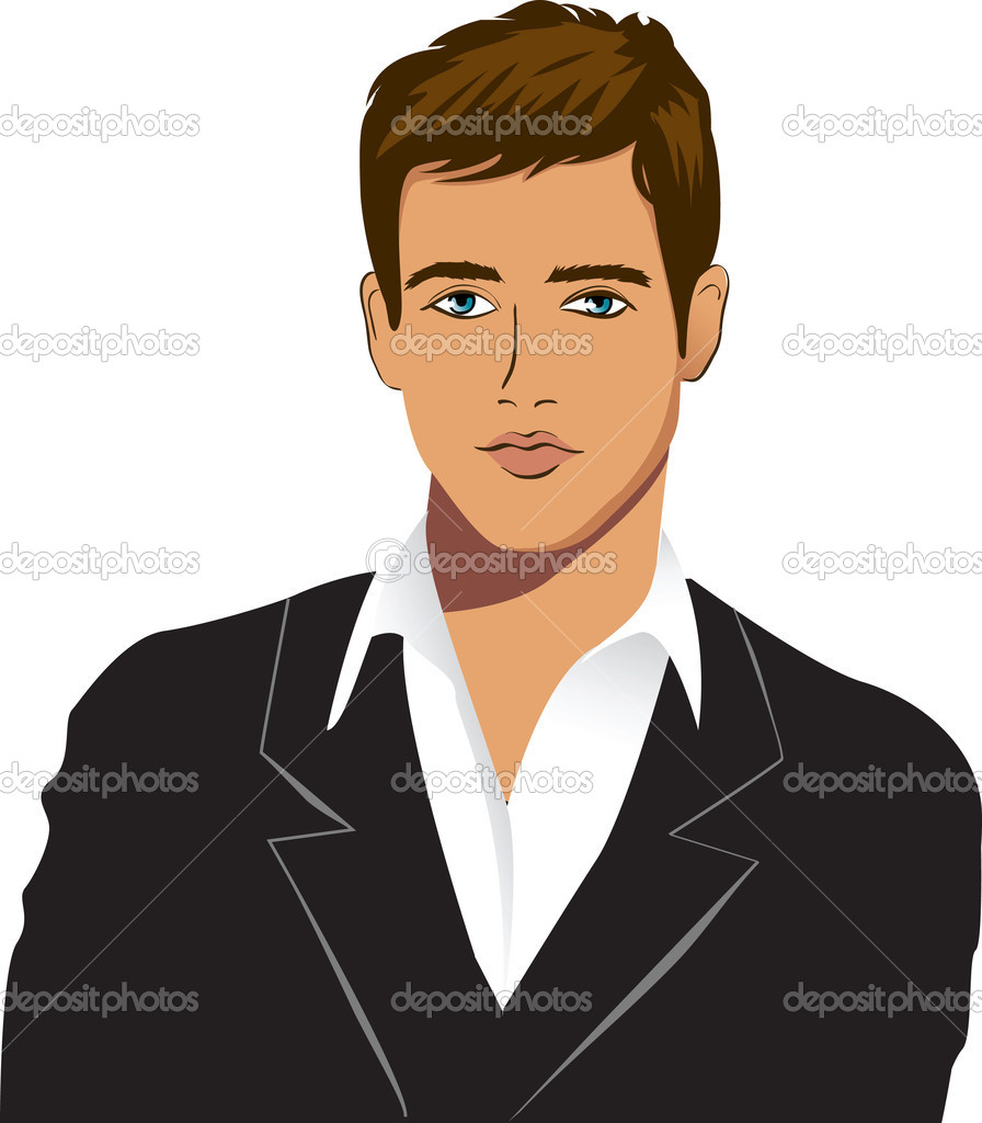 The Young Man In A Black Suit Stock Vector 169 Colorvalley