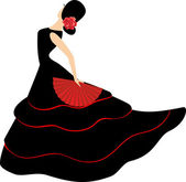 Flamenco dancer. Spanish girl with fan — Stock Vector
