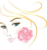 Beauty face girl portrait — Stock Vector