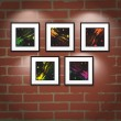 Vector frame on brick wall. Art gallery — Stock Vector