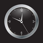 Black clock on black background — Stock Vector