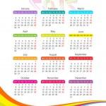 Vertical calendar for 2012 year with rainbow — Stock Vector