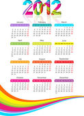 Vertical calendar for 2012 year with rainbow — Stock Vector