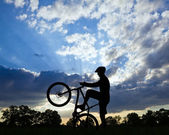 Cycling silhouette, bicycle rider — Stock Photo