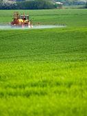 Traktor postřik na zelené farmy — Stock fotografie