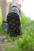 Mna walking in forest, exercise outdoors — Stock Photo