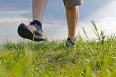 Procházky a cvičení v přírodě — Stock fotografie