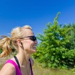 Happy running woman — Stock Photo