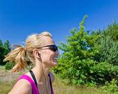 Happy running woman — Stock Photo
