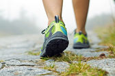 Walking exercise, sport shoes and legs — Stock Photo