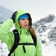 Woman hiking in winter mountains — Stock Photo #6647887
