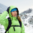 Woman hiking in winter mountains — Stock Photo