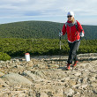Nordic walking in mountains — Stock Photo