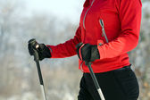 Woman nordic walking in winter — Stock Photo
