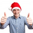 Man with a santa hat — Stock Photo