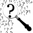 Question under loupe - Stock Photo