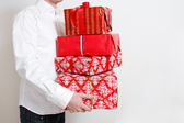 Prezentując mnóstwo prezentów — Zdjęcie stockowe