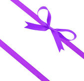 Purple christmas ribbon and bow — Stock Photo