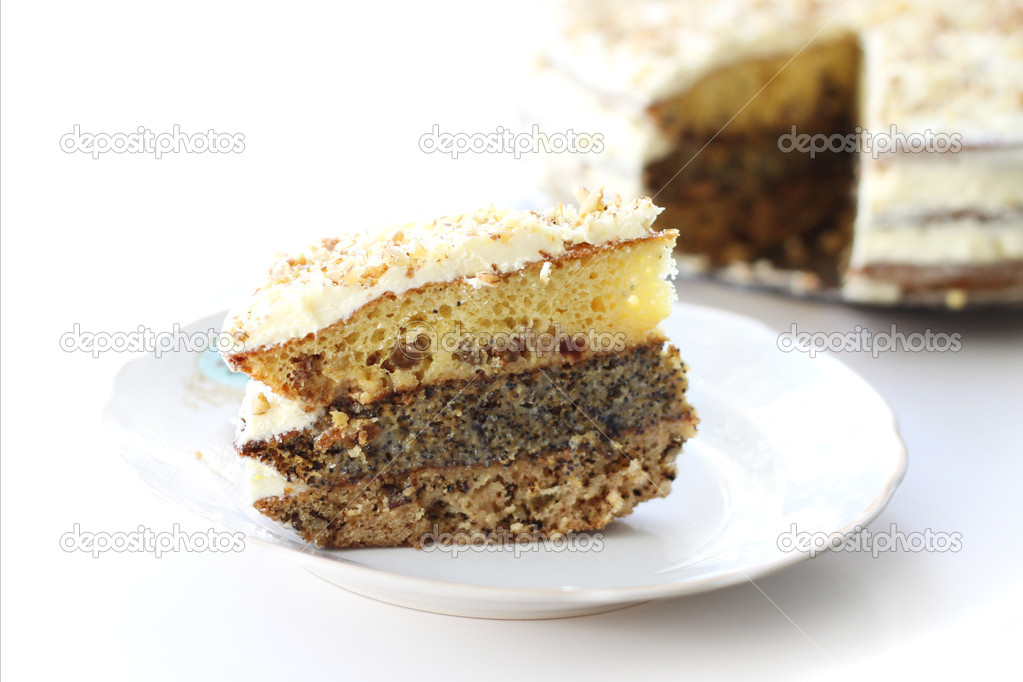 Tasty holiday homemade cake with cream, isolated — Stock Photo #6559180