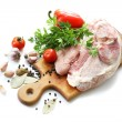 Raw meat and spices — Stock Photo