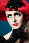 Retro style imitating fashion portrait of a young woman — Stock Photo