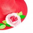 Red straw woman`s summer hat with roses — Stock Photo