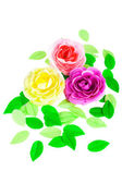 Three artificial roses and green leaves made of soap — ストック写真