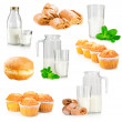 Set of fresh milk and baking products — Stock Photo