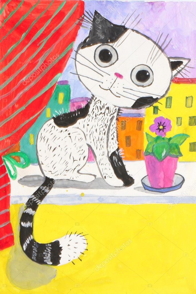 Child's drawing. cat sitting on a window-sill..  Stock Photo #5942210