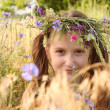 Girl with flowers diadem on her head - Stock Photo