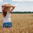 Stock Photo: Girl on wheat field