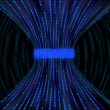 Stockfoto: Flowing blue boxes representing binary code being constricted by