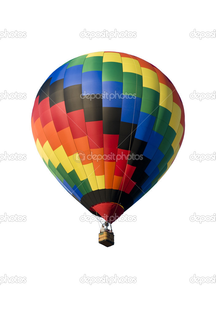 Colorful hot-air balloon floating against a white background — Stock Photo #6432216