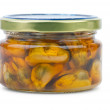 Stock Photo: Glass jar with conserved mussels