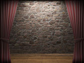 Illuminated stone wall — Stockfoto