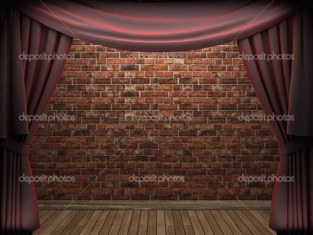 Red velvet curtain opening scene made in 3d — Stock Photo #5426682