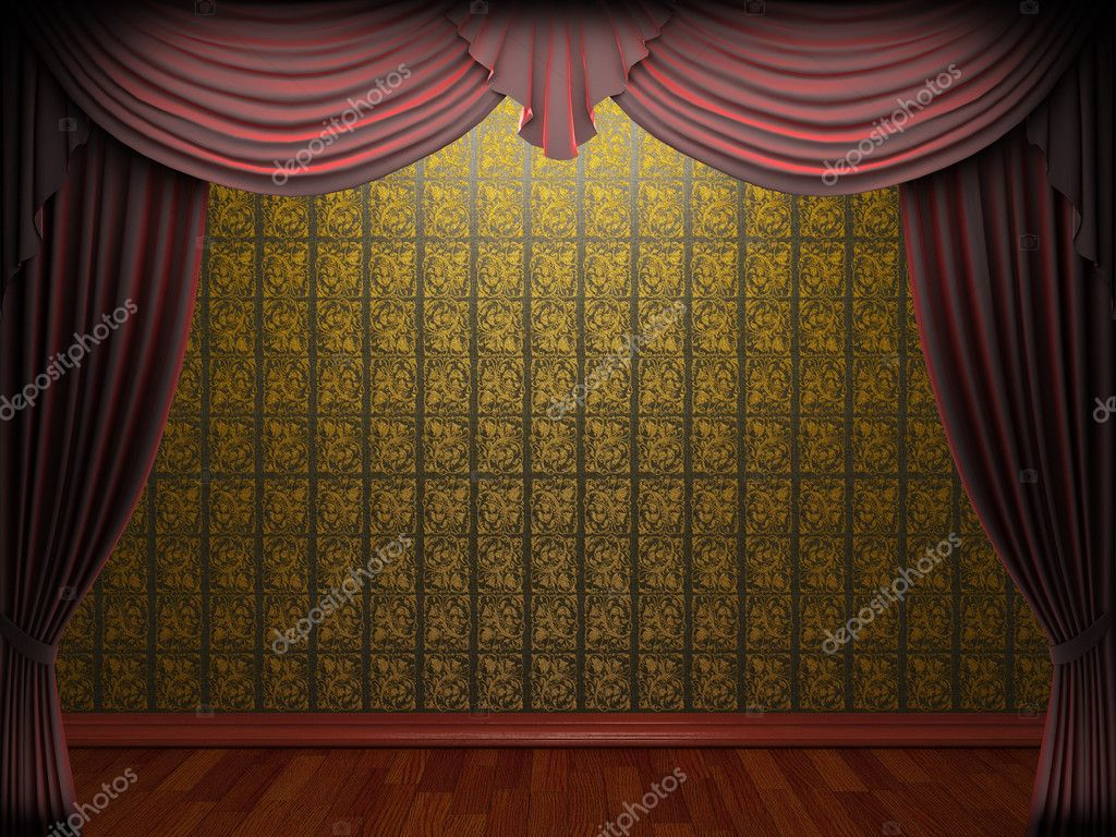 Red velvet curtain opening scene made in 3d — Stock Photo #5426790