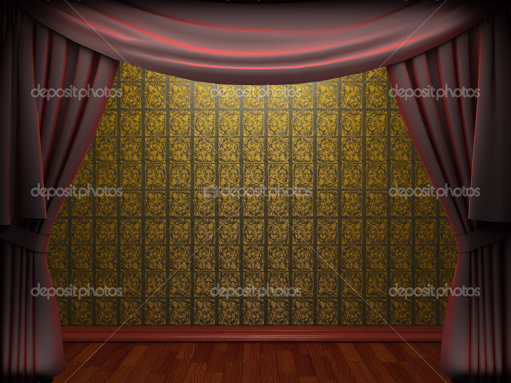 Red velvet curtain opening scene made in 3d  Stock Photo #5426794